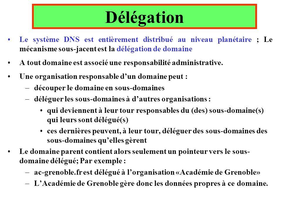 Délégation Le système DNS est entièrement distribué au niveau planétaire ; Le mécanisme sous-jacent est la délégation de domaine A tout domaine est associé une responsabilité administrative.
