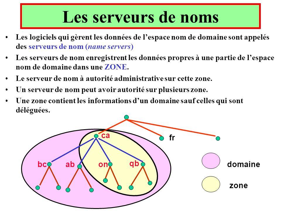 Les serveurs de noms Les logiciels qui gèrent les données de lespace nom de domaine sont appelés des serveurs de nom (name servers) Les serveurs de nom enregistrent les données propres à une partie de lespace nom de domaine dans une ZONE.