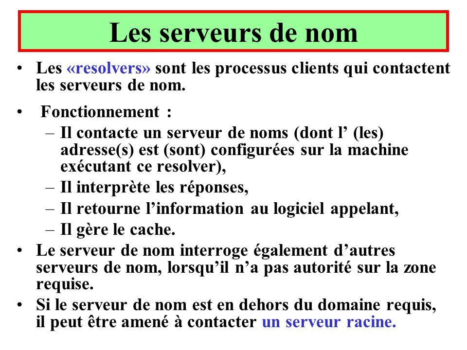 Les serveurs de nom Les «resolvers» sont les processus clients qui contactent les serveurs de nom. Fonctionnement : –Il contacte un serveur de noms (d