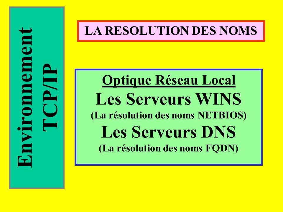Environnement TCP/IP LA RESOLUTION DES NOMS Optique Réseau Local Les Serveurs WINS (La résolution des noms NETBIOS) Les Serveurs DNS (La résolution des noms FQDN)