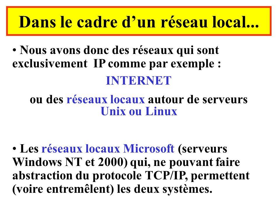 Nous avons donc des réseaux qui sont exclusivement IP comme par exemple : INTERNET ou des réseaux locaux autour de serveurs Unix ou Linux Les réseaux locaux Microsoft (serveurs Windows NT et 2000) qui, ne pouvant faire abstraction du protocole TCP/IP, permettent (voire entremêlent) les deux systèmes.