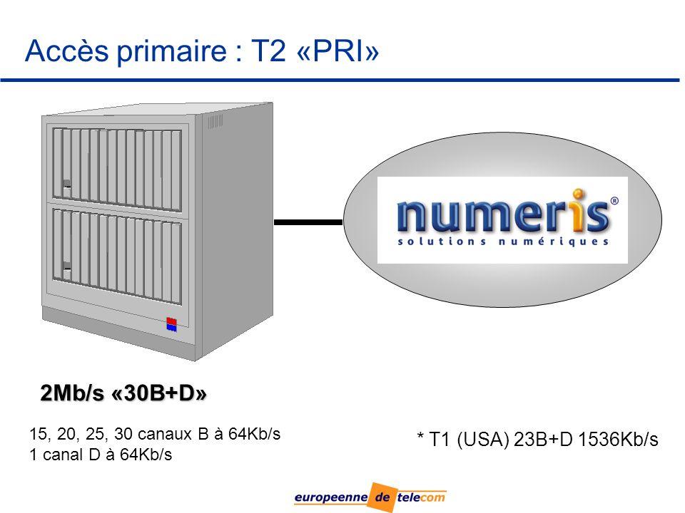 Accès primaire : T2 «PRI» 15, 20, 25, 30 canaux B à 64Kb/s 1 canal D à 64Kb/s * T1 (USA) 23B+D 1536Kb/s 2Mb/s «30B+D»