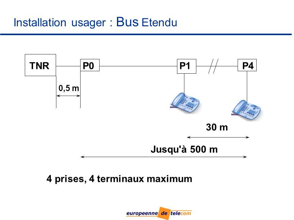 Installation usager : Bus Etendu TNRP0P1P4 Jusqu à 500 m 0,5 m 4 prises, 4 terminaux maximum 30 m