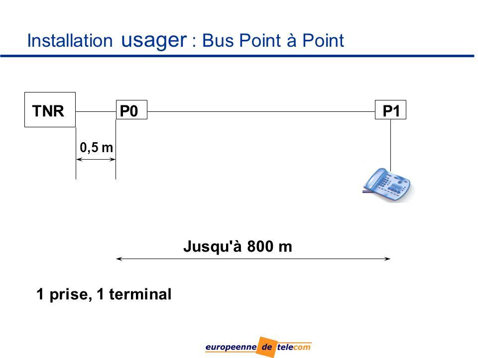 Installation usager : Bus Point à Point TNRP0P1 Jusqu à 800 m 0,5 m 1 prise, 1 terminal