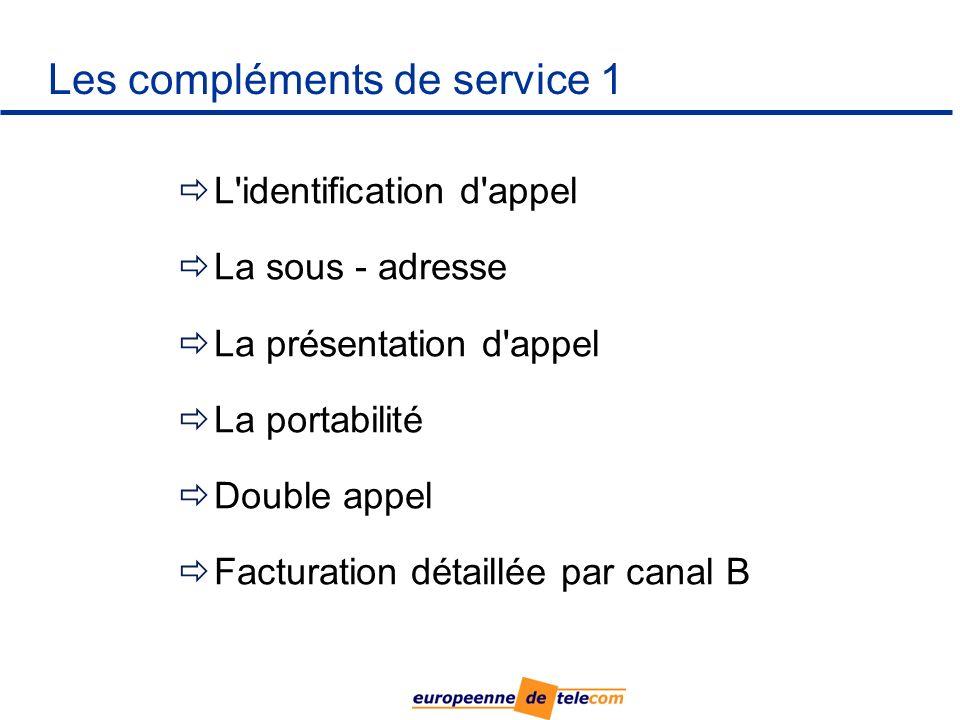 Les compléments de service 1 L identification d appel La sous - adresse La présentation d appel La portabilité Double appel Facturation détaillée par canal B