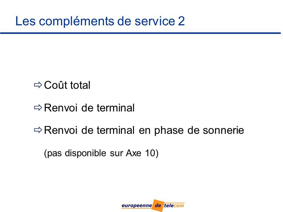 Les compléments de service 2 Coût total Renvoi de terminal Renvoi de terminal en phase de sonnerie (pas disponible sur Axe 10)