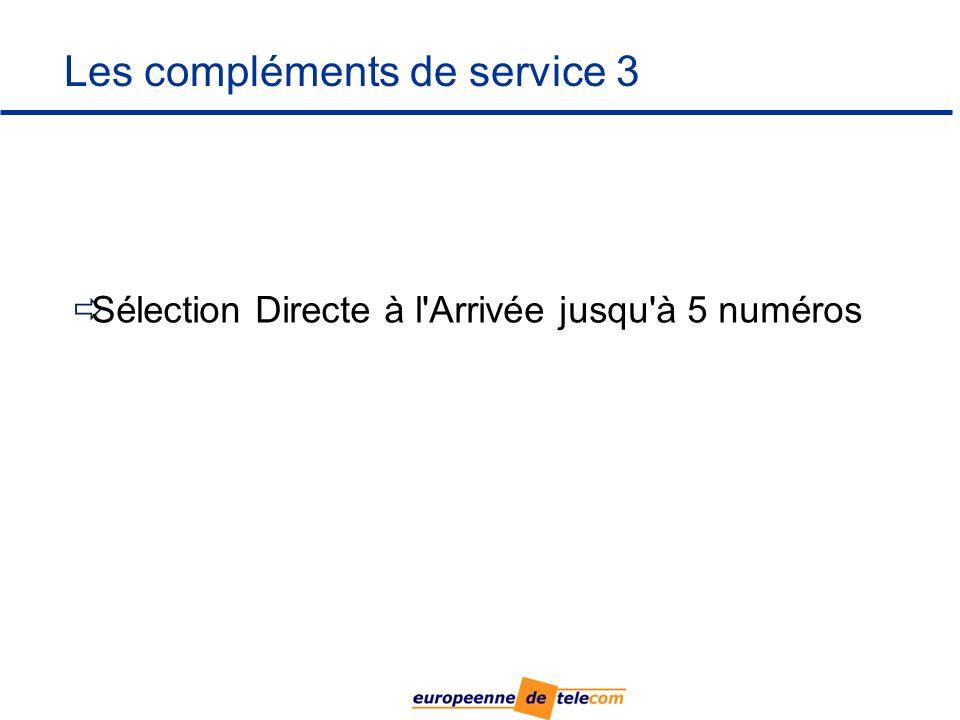 Les compléments de service 3 Sélection Directe à l Arrivée jusqu à 5 numéros