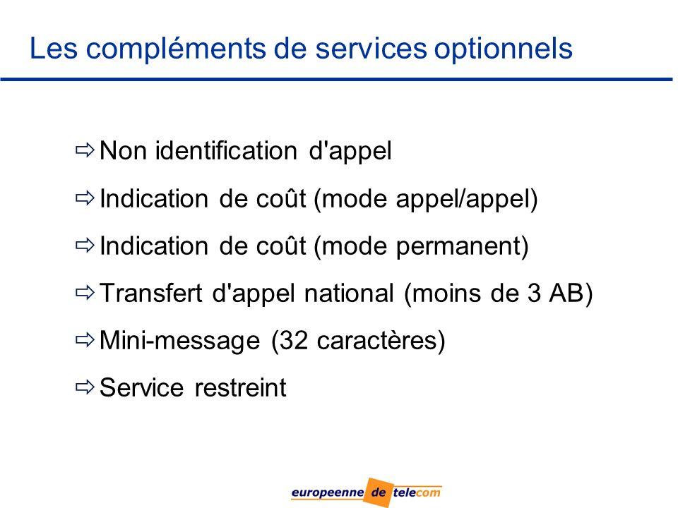 Non identification d appel Indication de coût (mode appel/appel) Indication de coût (mode permanent) Transfert d appel national (moins de 3 AB) Mini-message (32 caractères) Service restreint Les compléments de services optionnels