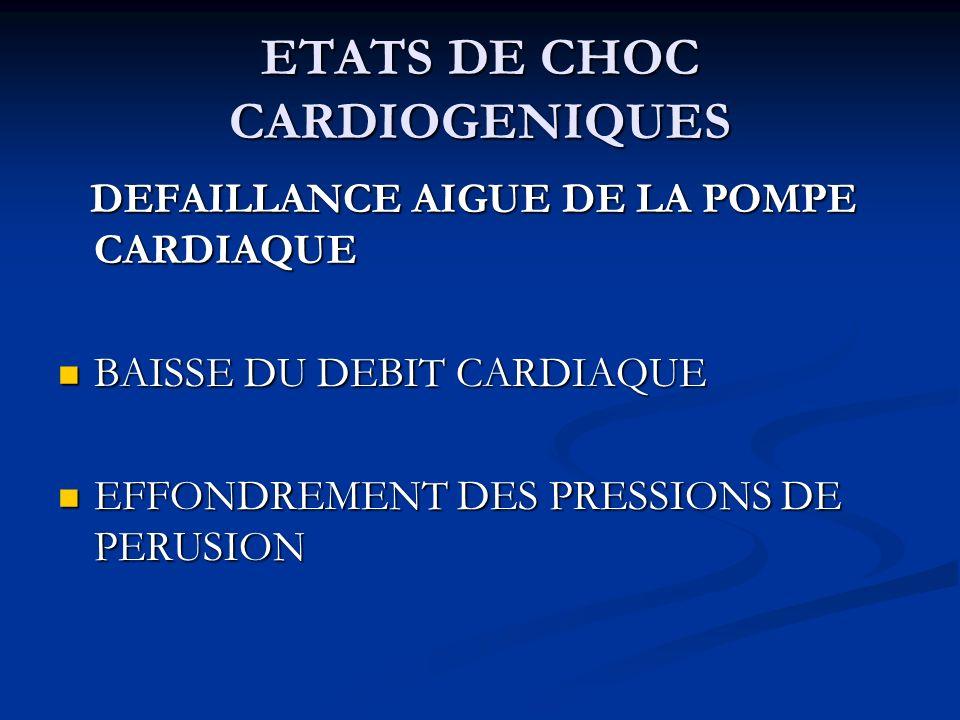 ETATS DE CHOC CARDIOGENIQUES DEFAILLANCE AIGUE DE LA POMPE CARDIAQUE DEFAILLANCE AIGUE DE LA POMPE CARDIAQUE BAISSE DU DEBIT CARDIAQUE BAISSE DU DEBIT