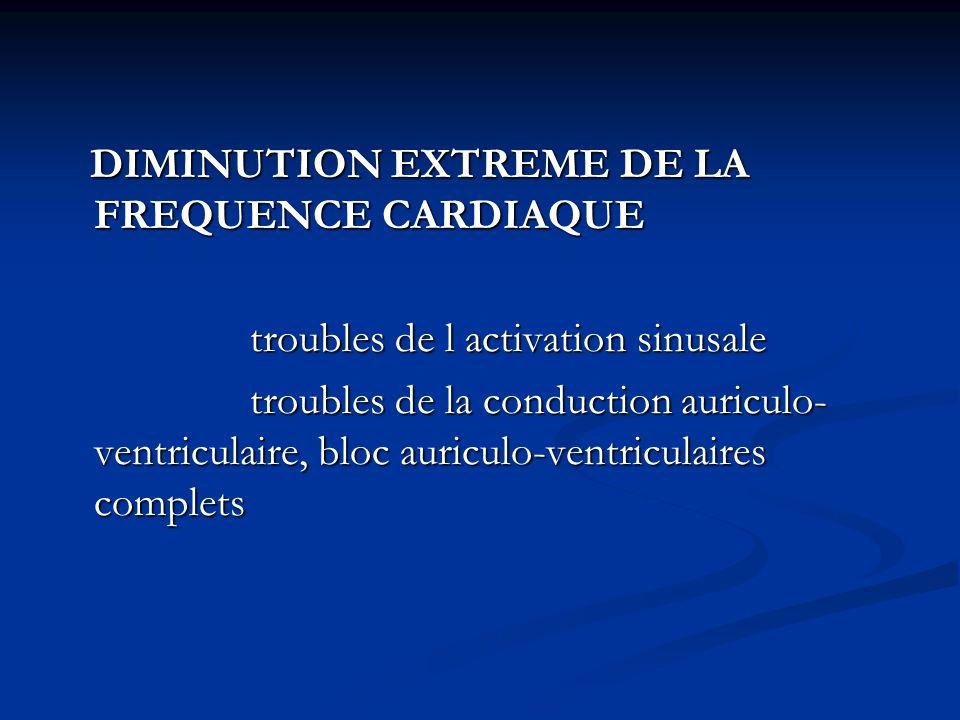 DIMINUTION EXTREME DE LA FREQUENCE CARDIAQUE DIMINUTION EXTREME DE LA FREQUENCE CARDIAQUE troubles de l activation sinusale troubles de l activation s