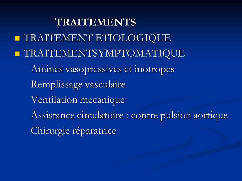 TRAITEMENTS TRAITEMENTS TRAITEMENT ETIOLOGIQUE TRAITEMENT ETIOLOGIQUE TRAITEMENTSYMPTOMATIQUE TRAITEMENTSYMPTOMATIQUE Amines vasopressives et inotrope