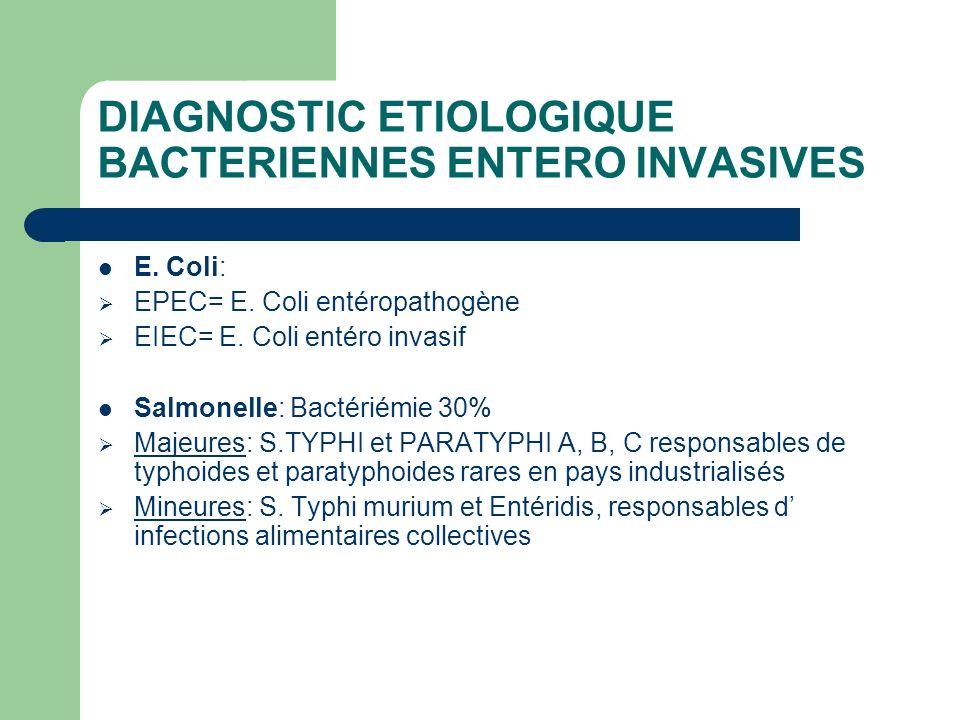 DIAGNOSTIC ETIOLOGIQUE BACTERIENNES ENTERO INVASIVES E. Coli: EPEC= E. Coli entéropathogène EIEC= E. Coli entéro invasif Salmonelle: Bactériémie 30% M