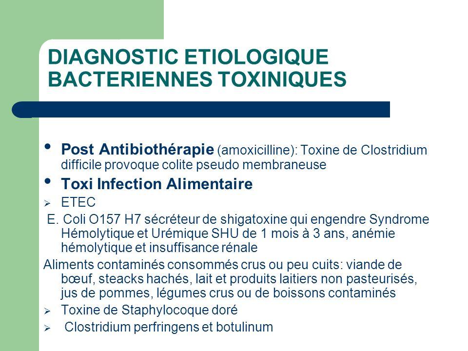 DIAGNOSTIC ETIOLOGIQUE BACTERIENNES TOXINIQUES Post Antibiothérapie (amoxicilline): Toxine de Clostridium difficile provoque colite pseudo membraneuse