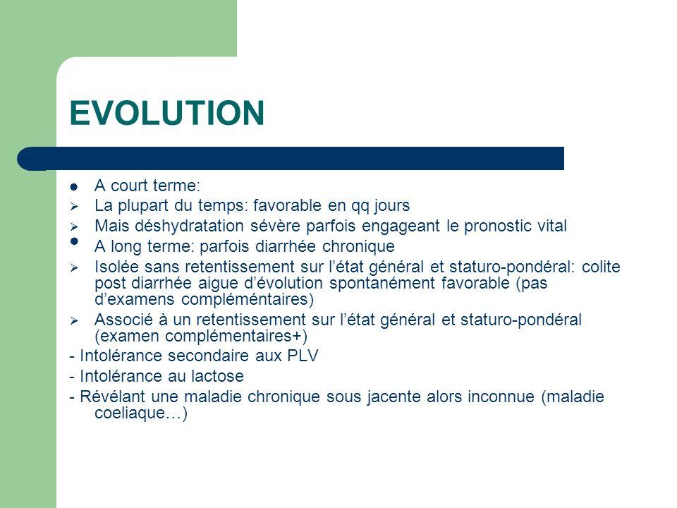 EVOLUTION A court terme: La plupart du temps: favorable en qq jours Mais déshydratation sévère parfois engageant le pronostic vital A long terme: parf