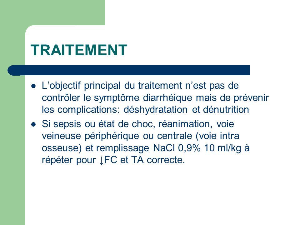 TRAITEMENT Lobjectif principal du traitement nest pas de contrôler le symptôme diarrhéique mais de prévenir les complications: déshydratation et dénut