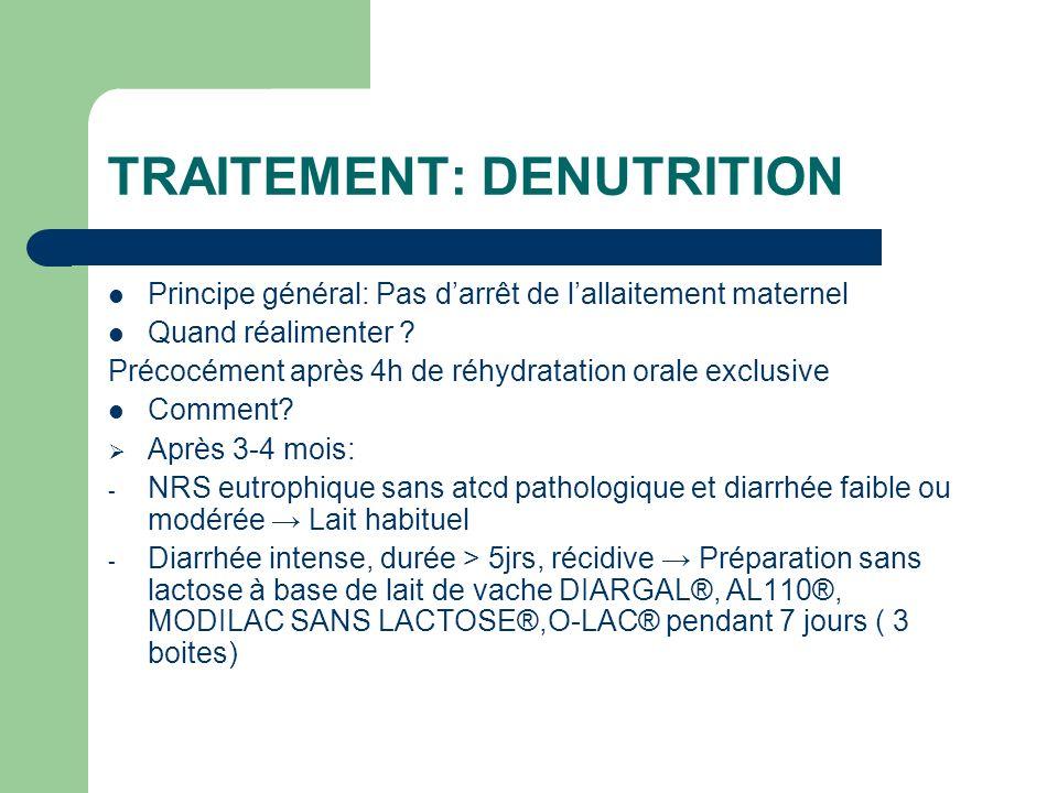 TRAITEMENT: DENUTRITION Principe général: Pas darrêt de lallaitement maternel Quand réalimenter ? Précocément après 4h de réhydratation orale exclusiv