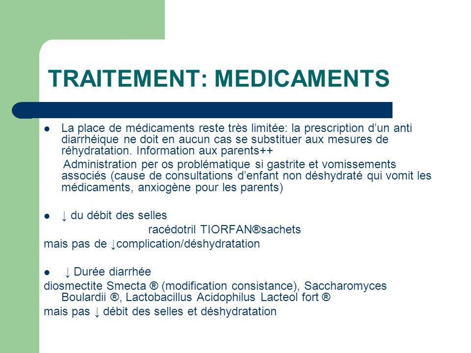 TRAITEMENT: MEDICAMENTS La place de médicaments reste très limitée: la prescription dun anti diarrhéique ne doit en aucun cas se substituer aux mesure