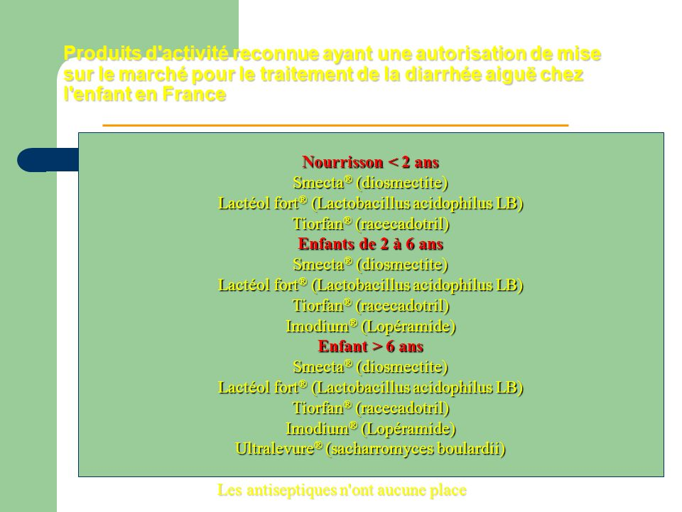Produits d'activité reconnue ayant une autorisation de mise sur le marché pour le traitement de la diarrhée aiguë chez l'enfant en France Les antisept