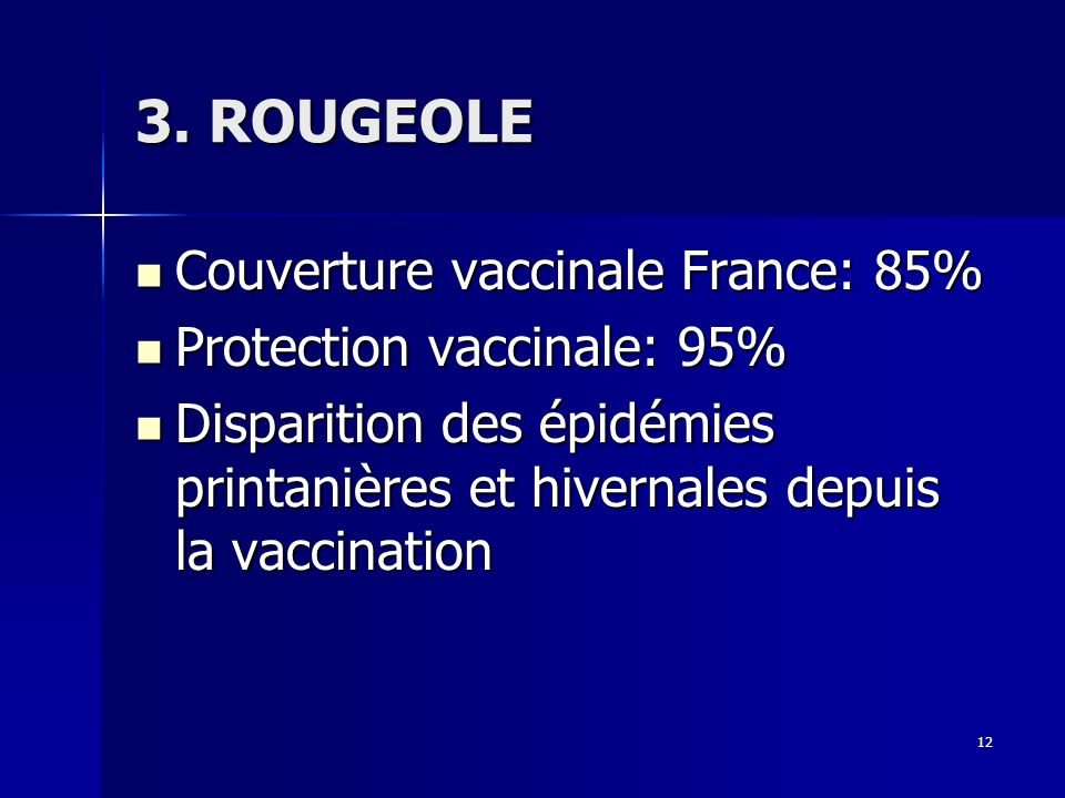 12 3. ROUGEOLE Couverture vaccinale France: 85% Couverture vaccinale France: 85% Protection vaccinale: 95% Protection vaccinale: 95% Disparition des é