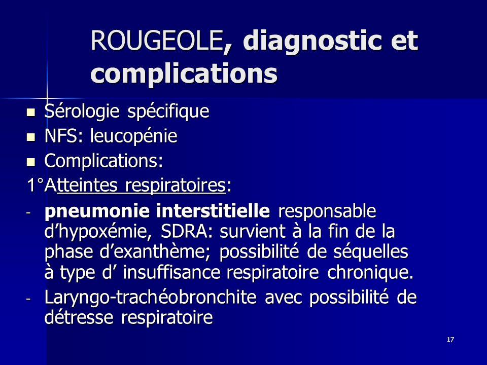 17 ROUGEOLE, diagnostic et complications Sérologie spécifique Sérologie spécifique NFS: leucopénie NFS: leucopénie Complications: Complications: 1°A t