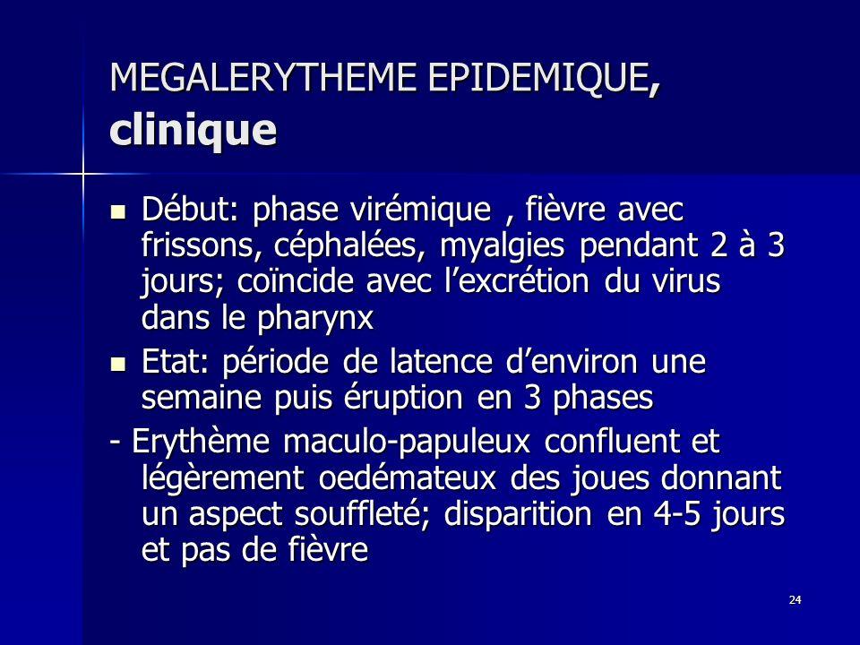 24 MEGALERYTHEME EPIDEMIQUE, clinique Début: phase virémique, fièvre avec frissons, céphalées, myalgies pendant 2 à 3 jours; coïncide avec lexcrétion