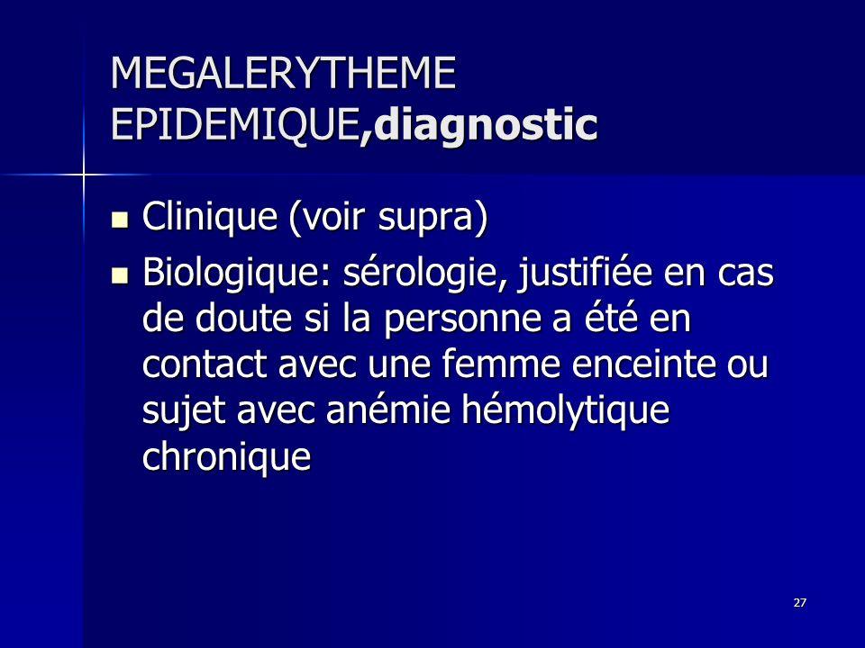 27 MEGALERYTHEME EPIDEMIQUE,diagnostic Clinique (voir supra) Clinique (voir supra) Biologique: sérologie, justifiée en cas de doute si la personne a é