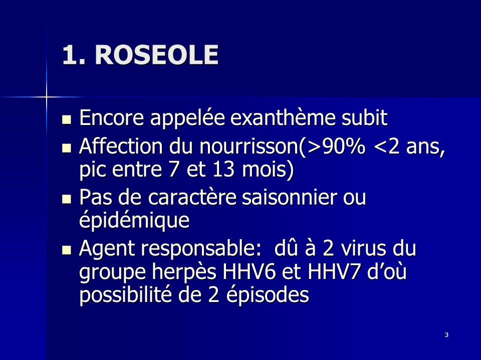 3 1. ROSEOLE Encore appelée exanthème subit Encore appelée exanthème subit Affection du nourrisson(>90% 90% <2 ans, pic entre 7 et 13 mois) Pas de car