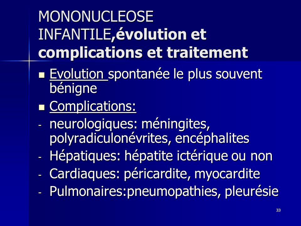 33 MONONUCLEOSE INFANTILE,évolution et complications et traitement Evolution spontanée le plus souvent bénigne Evolution spontanée le plus souvent bén