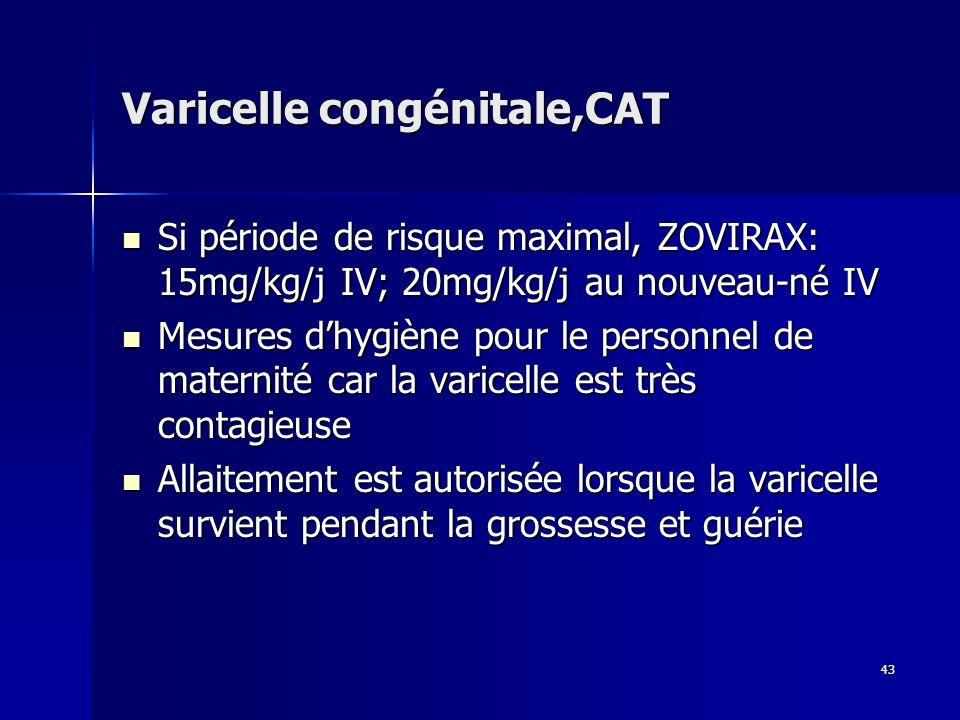 43 Varicelle congénitale,CAT Si période de risque maximal, ZOVIRAX: 15mg/kg/j IV; 20mg/kg/j au nouveau-né IV Si période de risque maximal, ZOVIRAX: 15