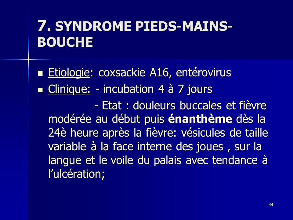 44 7. SYNDROME PIEDS-MAINS- BOUCHE Etiologie: coxsackie A16, entérovirus Etiologie: coxsackie A16, entérovirus Clinique: - incubation 4 à 7 jours Clin