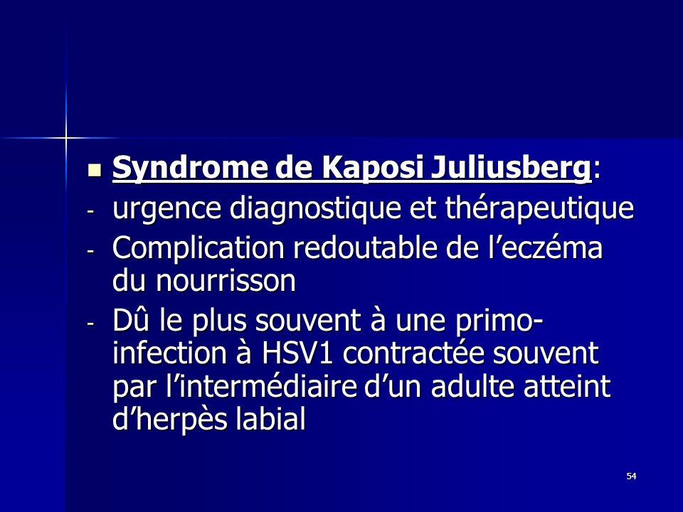 54 Syndrome de Kaposi Juliusberg: Syndrome de Kaposi Juliusberg: - urgence diagnostique et thérapeutique - Complication redoutable de leczéma du nourr