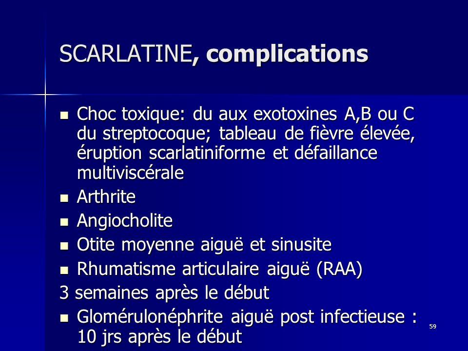 59 SCARLATINE, complications Choc toxique: du aux exotoxines A,B ou C du streptocoque; tableau de fièvre élevée, éruption scarlatiniforme et défaillan