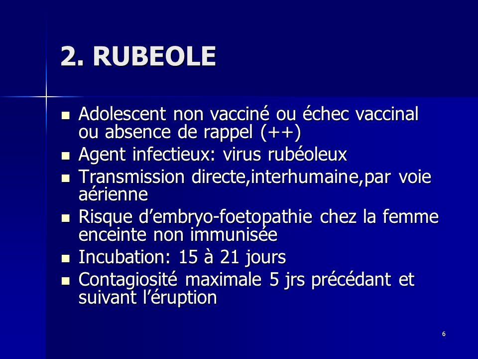 6 2. RUBEOLE Adolescent non vacciné ou échec vaccinal ou absence de rappel (++) Adolescent non vacciné ou échec vaccinal ou absence de rappel (++) Age