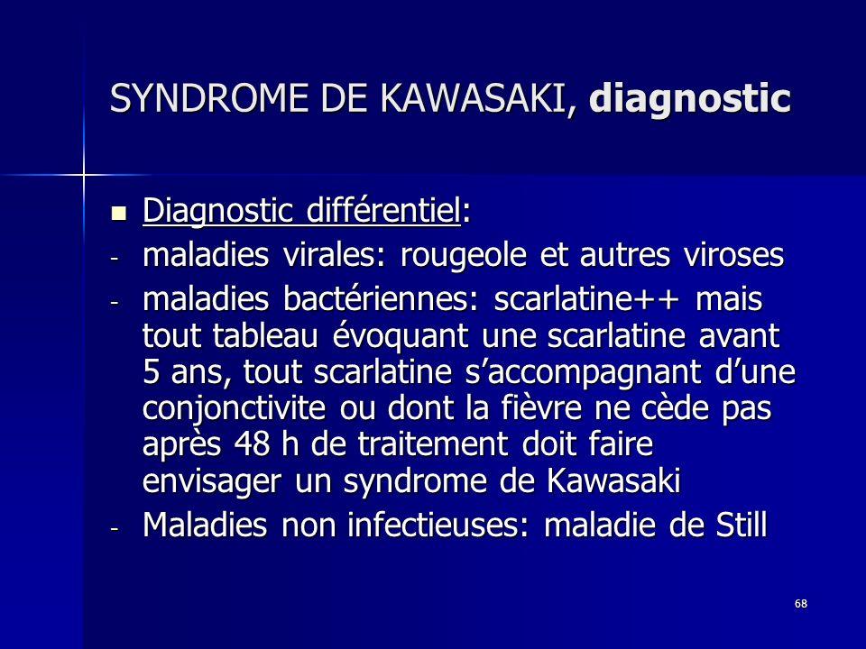 68 SYNDROME DE KAWASAKI, diagnostic Diagnostic différentiel: Diagnostic différentiel: - maladies virales: rougeole et autres viroses - maladies bactér