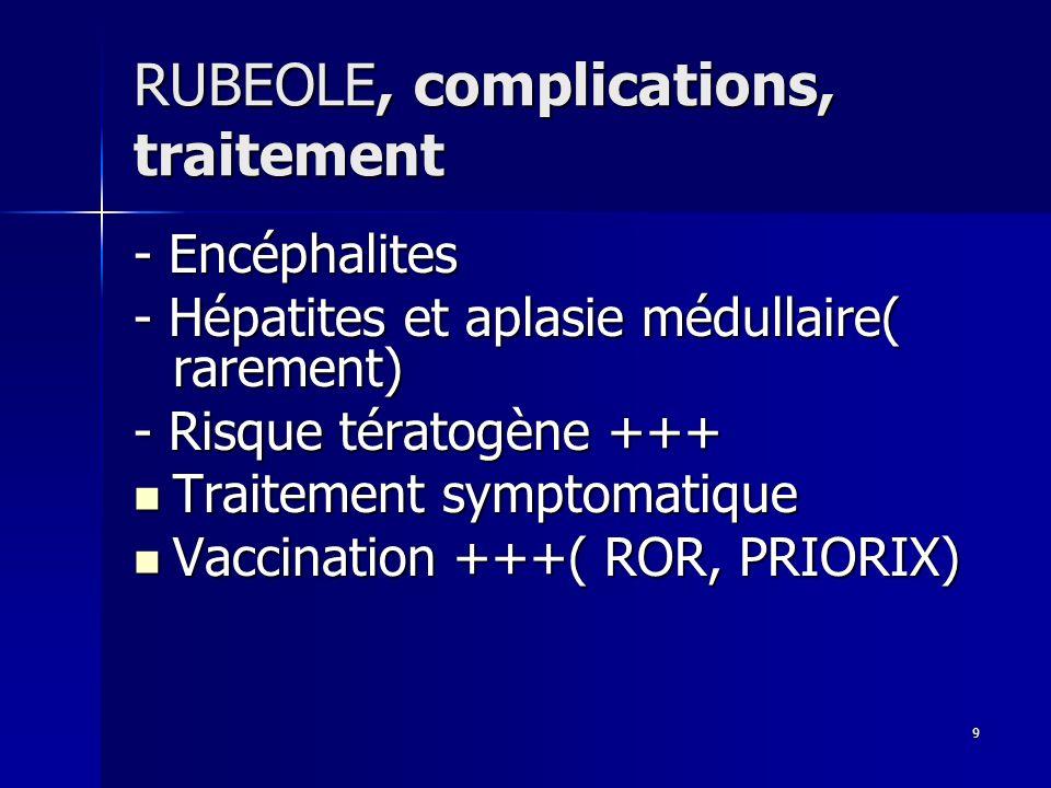 9 RUBEOLE, complications, traitement - Encéphalites - Hépatites et aplasie médullaire( rarement) - Risque tératogène +++ Traitement symptomatique Trai