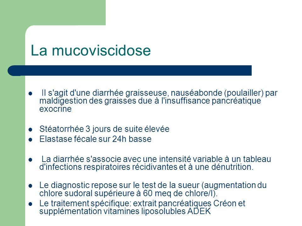 La mucoviscidose Il s'agit d'une diarrhée graisseuse, nauséabonde (poulailler) par maldigestion des graisses due à l'insuffisance pancréatique exocrin