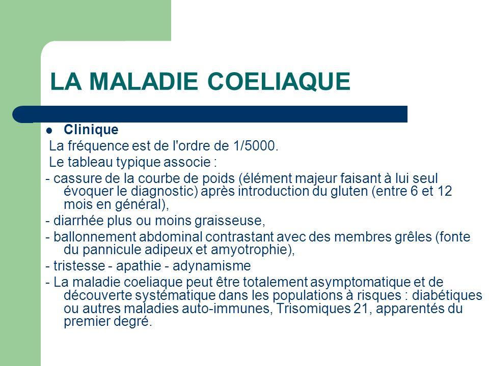 LA MALADIE COELIAQUE Clinique La fréquence est de l'ordre de 1/5000. Le tableau typique associe : - cassure de la courbe de poids (élément majeur fais