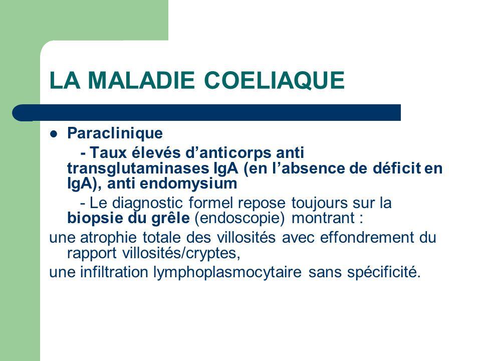 LA MALADIE COELIAQUE Paraclinique - Taux élevés danticorps anti transglutaminases IgA (en labsence de déficit en IgA), anti endomysium - Le diagnostic