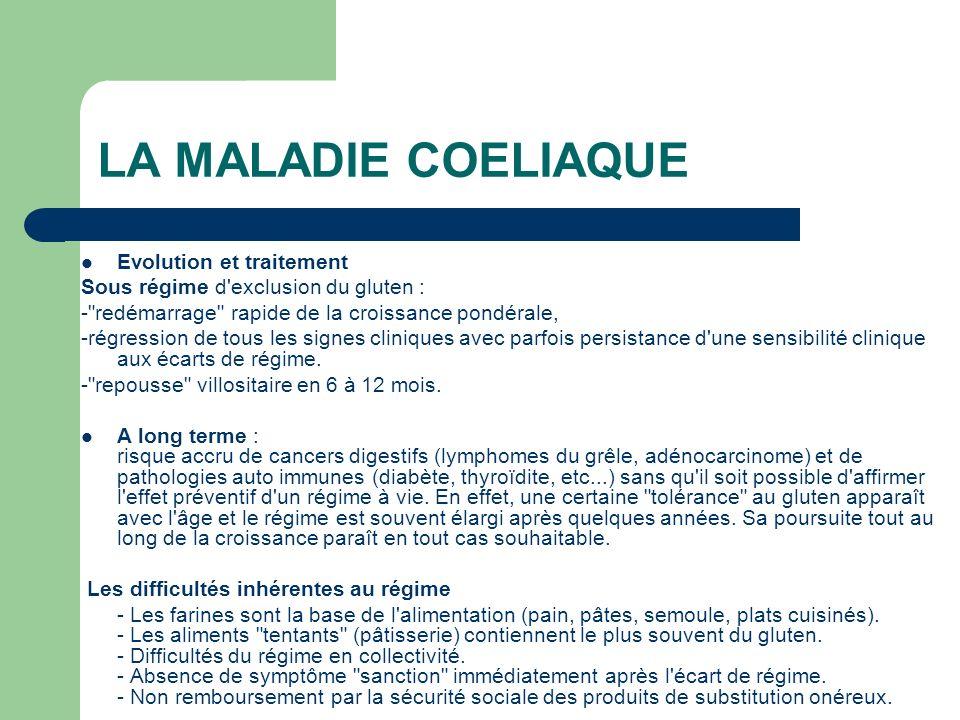 LA MALADIE COELIAQUE Evolution et traitement Sous régime d'exclusion du gluten : -