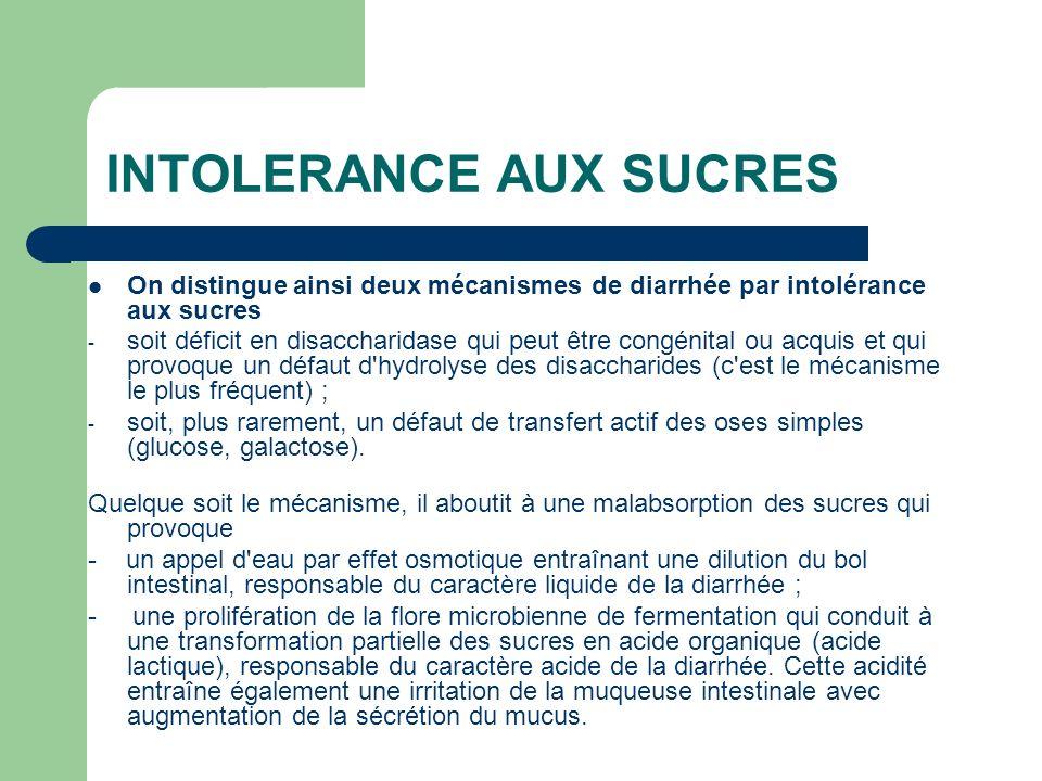 INTOLERANCE AUX SUCRES On distingue ainsi deux mécanismes de diarrhée par intolérance aux sucres - soit déficit en disaccharidase qui peut être congén