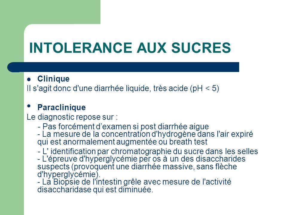 INTOLERANCE AUX SUCRES Clinique Il s'agit donc d'une diarrhée liquide, très acide (pH < 5) Paraclinique Le diagnostic repose sur : - Pas forcément dex