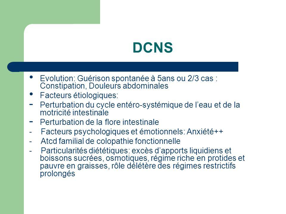 DCNS Evolution: Guérison spontanée à 5ans ou 2/3 cas : Constipation, Douleurs abdominales Facteurs étiologiques: - Perturbation du cycle entéro-systém