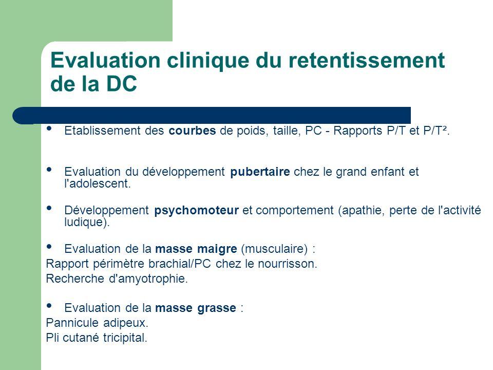 Evaluation clinique du retentissement de la DC Etablissement des courbes de poids, taille, PC - Rapports P/T et P/T². Evaluation du développement pube