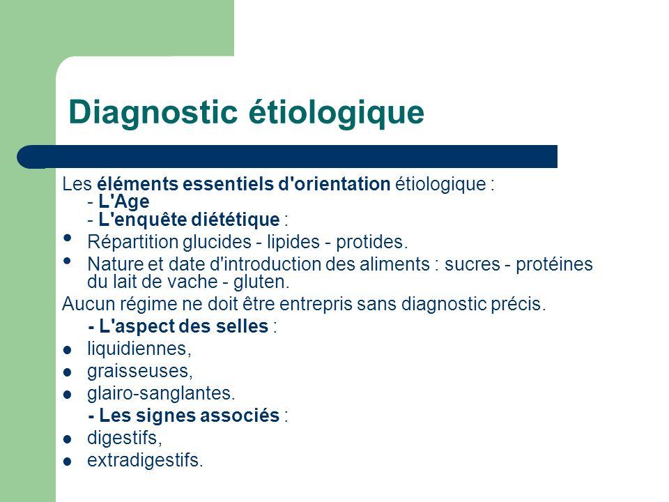 Diagnostic étiologique Les éléments essentiels d'orientation étiologique : - L'Age - L'enquête diététique : Répartition glucides - lipides - protides.