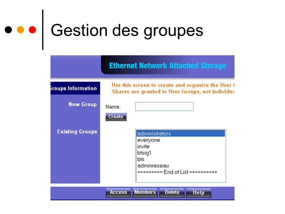 Gestion des groupes.
