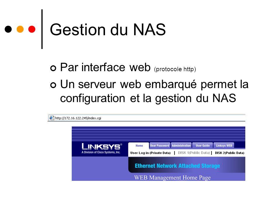 Gestion du NAS Par interface web (protocole http) Un serveur web embarqué permet la configuration et la gestion du NAS