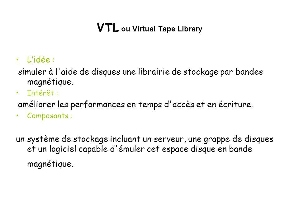VTL ou Virtual Tape Library Lidée : simuler à l'aide de disques une librairie de stockage par bandes magnétique. Intérêt : améliorer les performances