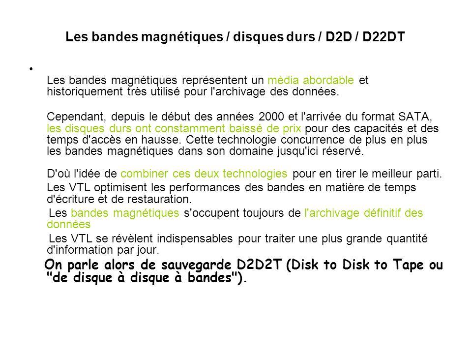 Les bandes magnétiques / disques durs / D2D / D22DT Les bandes magnétiques représentent un média abordable et historiquement très utilisé pour l'archi