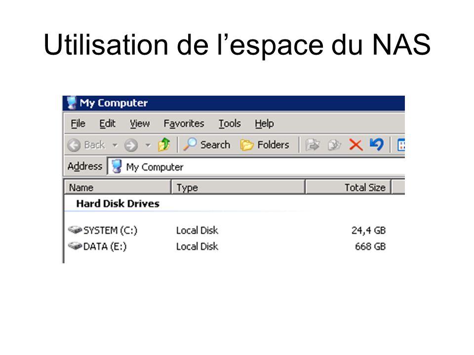 Utilisation de lespace du NAS
