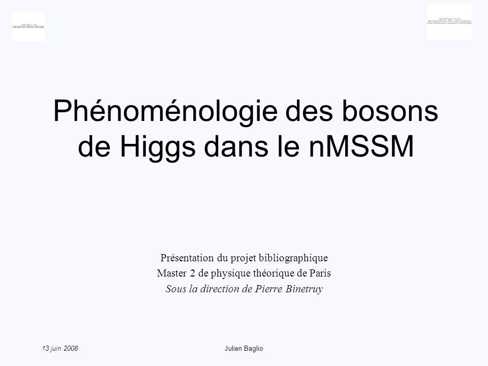 13 juin 2008Julien Baglio Conclusion Le nMSSM ou (M+1)SSM permet de résoudre le μ-problem La phénoménologie du nMSSM est proche du MSSM, mais la différence majeure sur le LSP peut modifier les recherches sur ledit LSP Le cNMSSM semble pouvoir être décrit par 1 paramètre, dautres études phénoménologiques sont nécessaires